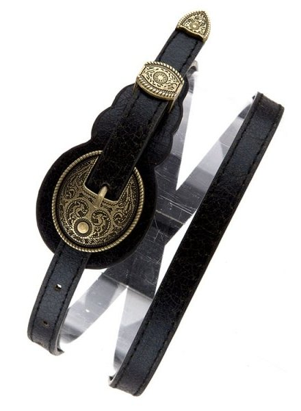 Black Distressed Western Skinny Belt