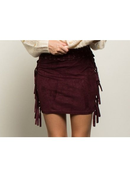 Burgundy Fringe Skirt
