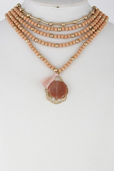Pink Multi Layer Beaded Necklace