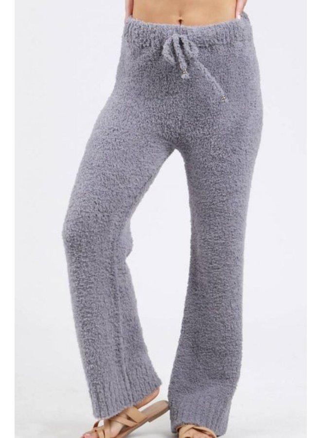 Grey Berber Fleece Pajama Pants with Drawstring Waistband