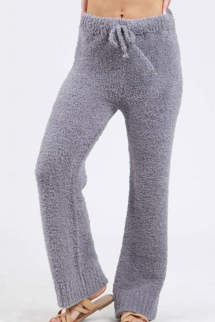 Grey Berber Fleece Pajama Pants With Drawstring Waistband Shabby