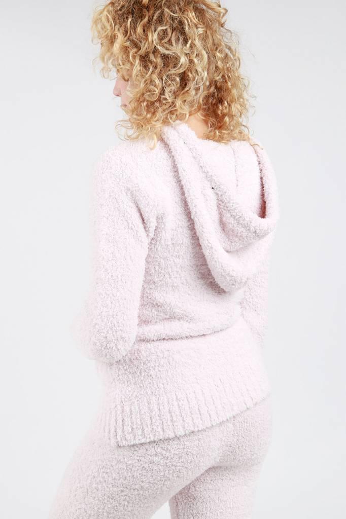 Powder Pink Berber Fleece Hoodie Jacket