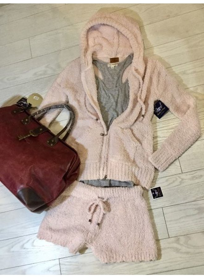 Powder Pink Berber Fleece Hoodie Jacket