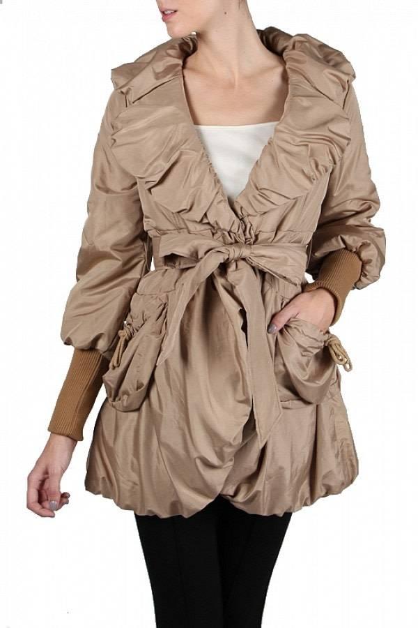 Shirring Neckline Jacket Camel