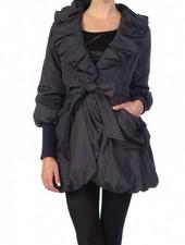 Off Black Shirring Neckline Jacket