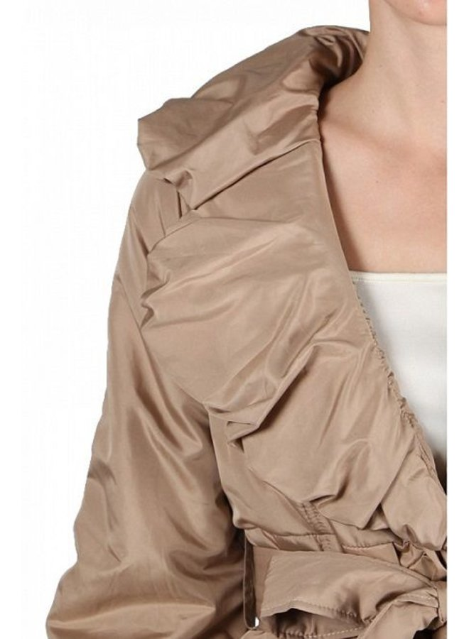 Shirring Neckline Jacket Camel