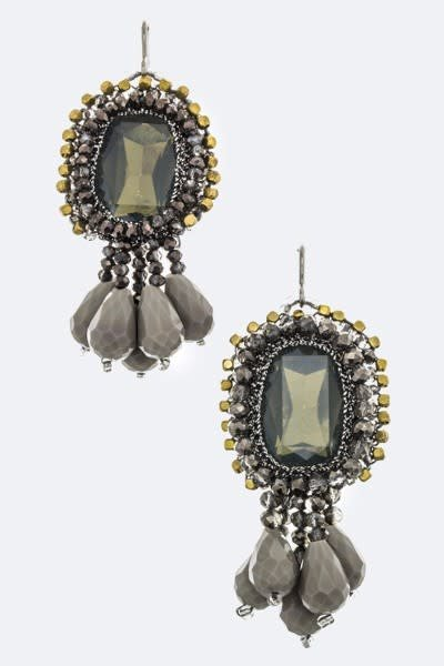 Black Crystal & Fringe Bead Earrings