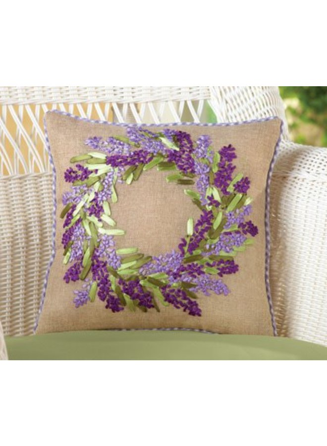 Lavendar Wreath Pillow on Burlap