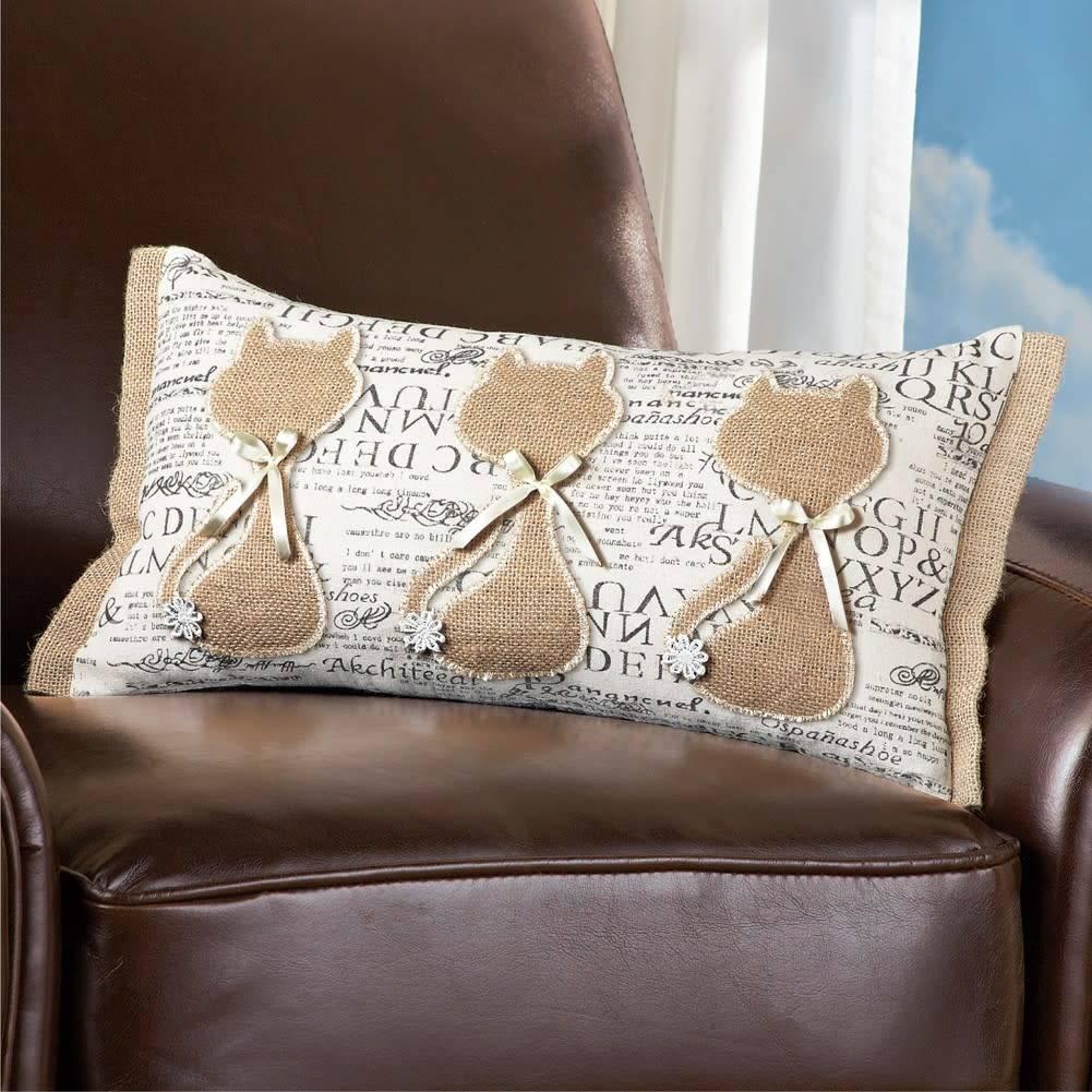 Burlap Cat Pillow