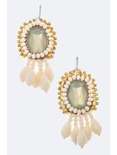 Natural Crystal & Fringe Bead Earrings