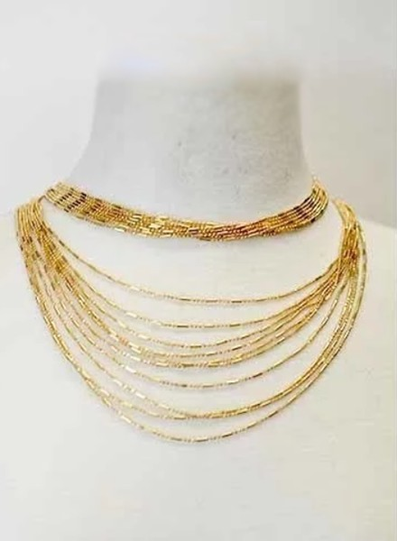 Gold Lined Draped Choker Necklace