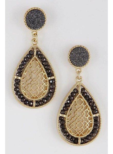 Gold & Hematite Precious Pearl Beaded Earrings