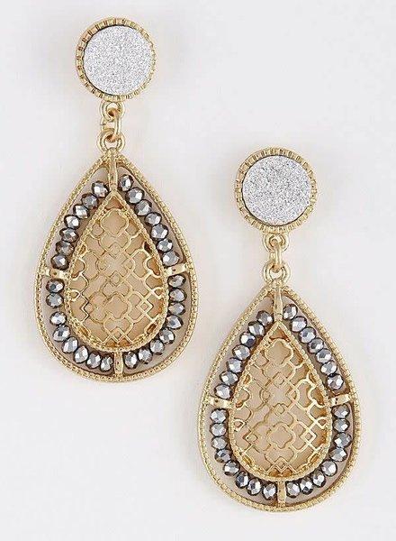 Gold & Silver Precious Pearl Beaded Earrings