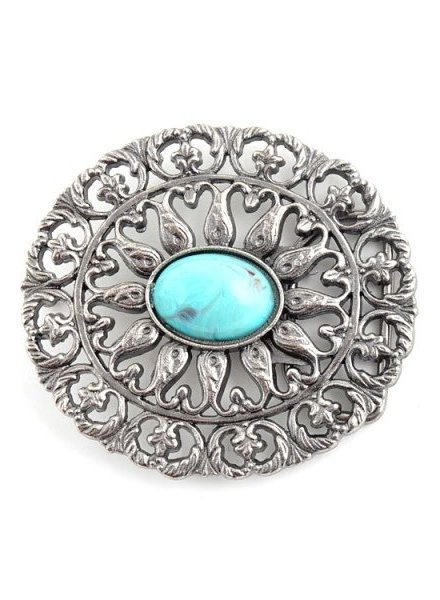 Oval Turquoise Stone Flower Buckle