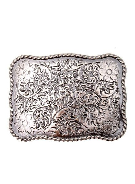 Silver Rectangular Flower Metal Buckle