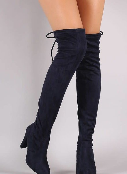 Navy Over The Knee Suede Boots