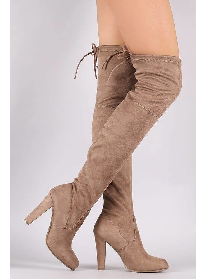 Taupe Over The Knee Suede Boots