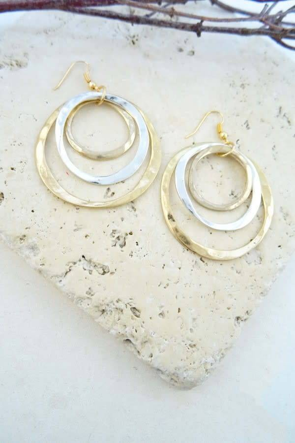 Gold & Silver Polished Earrings