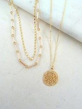 Gold 3 Piece Circle Pendant Necklace