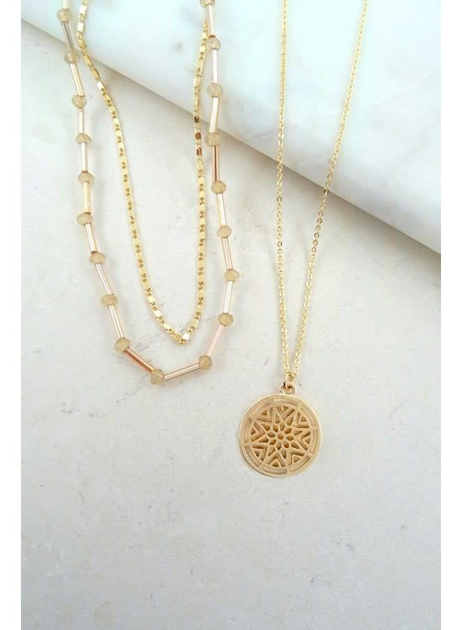 Gold 3 Piece Circle Pendant Necklace