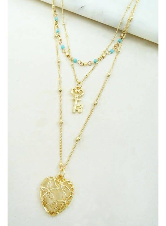 Gold Charm Necklace with Blue Beads