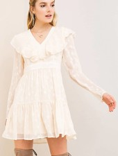 Natural Star Embroidered Babydoll Dress