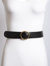 Punch Out Design Round Buckle Belt