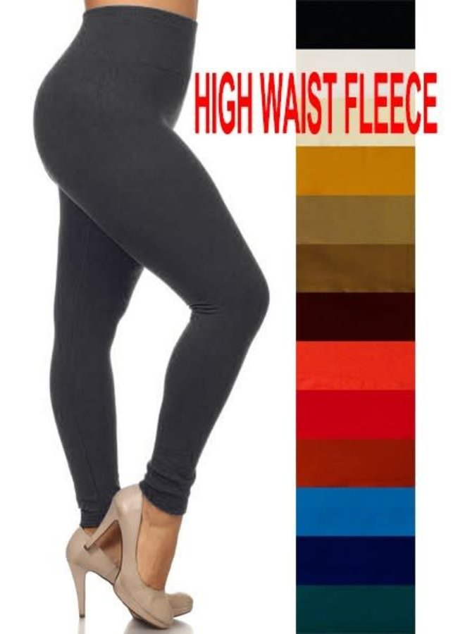 Black Plus High Waist Fleece Lined Leggings