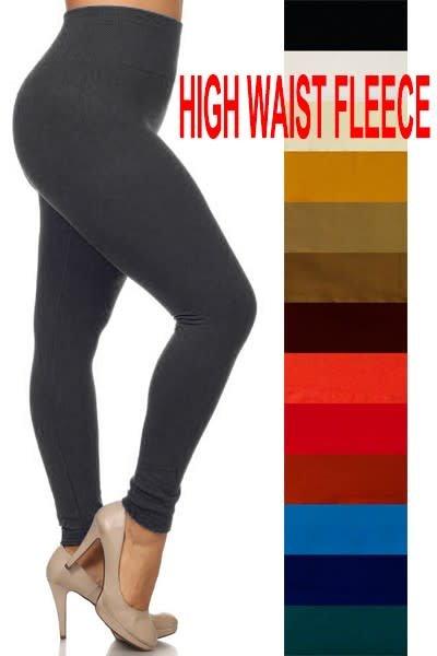 Black Plus High Waist Fleece Lined Leggings
