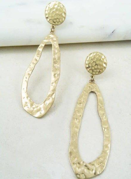 Shabby Cottage Boho Gold Oblong Hammered Hoop Earrings