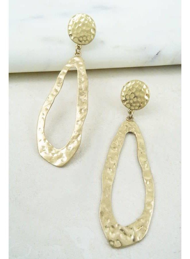 Gold Oblong Hammered Hoop Earrings