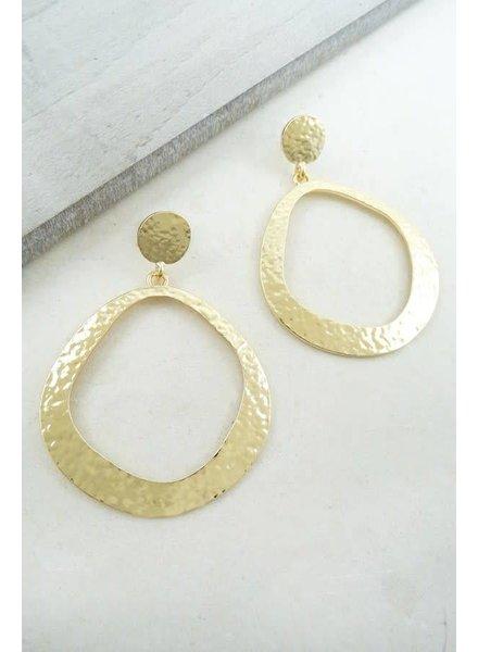 Gold Simplistic Hammered Hoop Earring