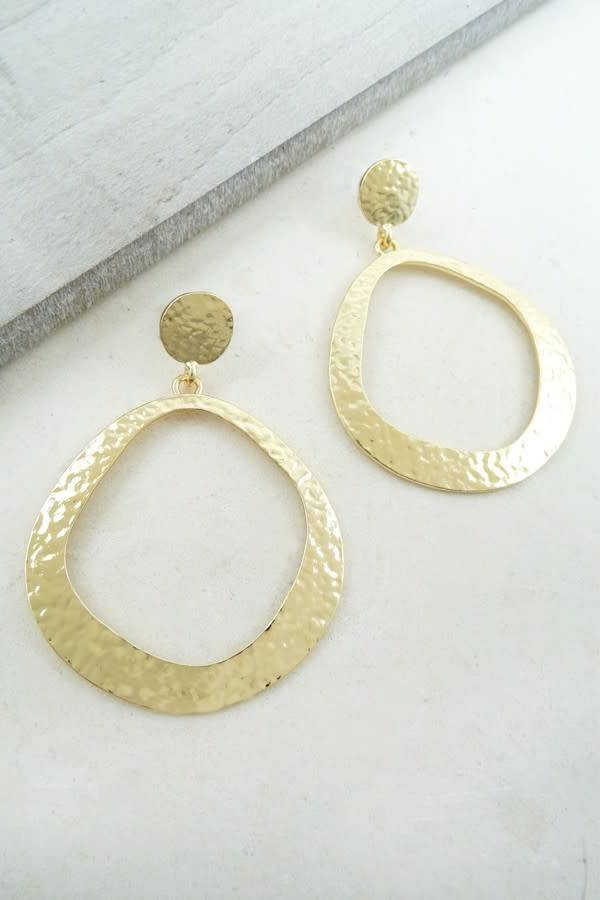 Gold Simplistic Hammered Hoop Earring