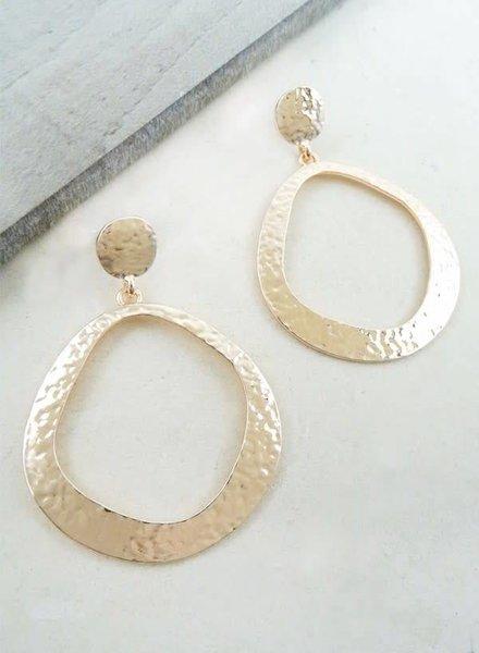 Rose Gold Simplistic Hammered Hoop Earring