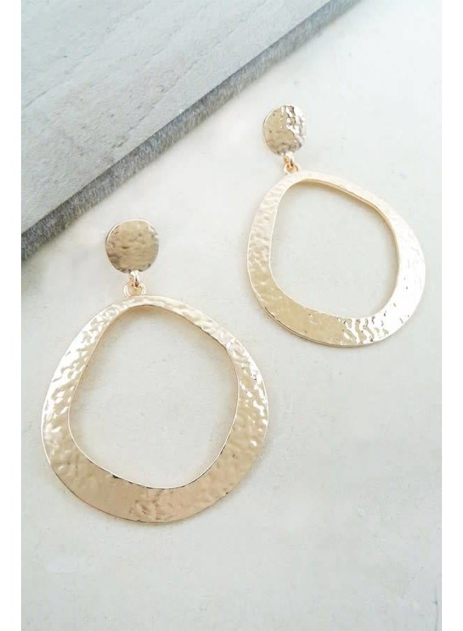 Rose Gold Simplistic Hammered Hoop Earring