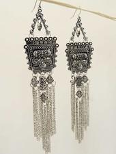 Silver Square Fringe Boho Earrings