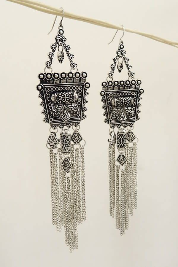 a853f1800 Shabby Cottage Boho Boutique - Silver Square Fringe Boho Earrings ...