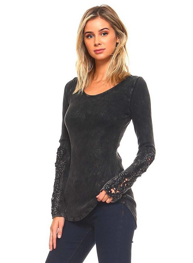 Black Scoop Neck Long Sleeve