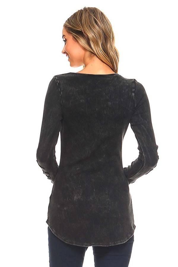 Black Scoop Neck Long Sleeve