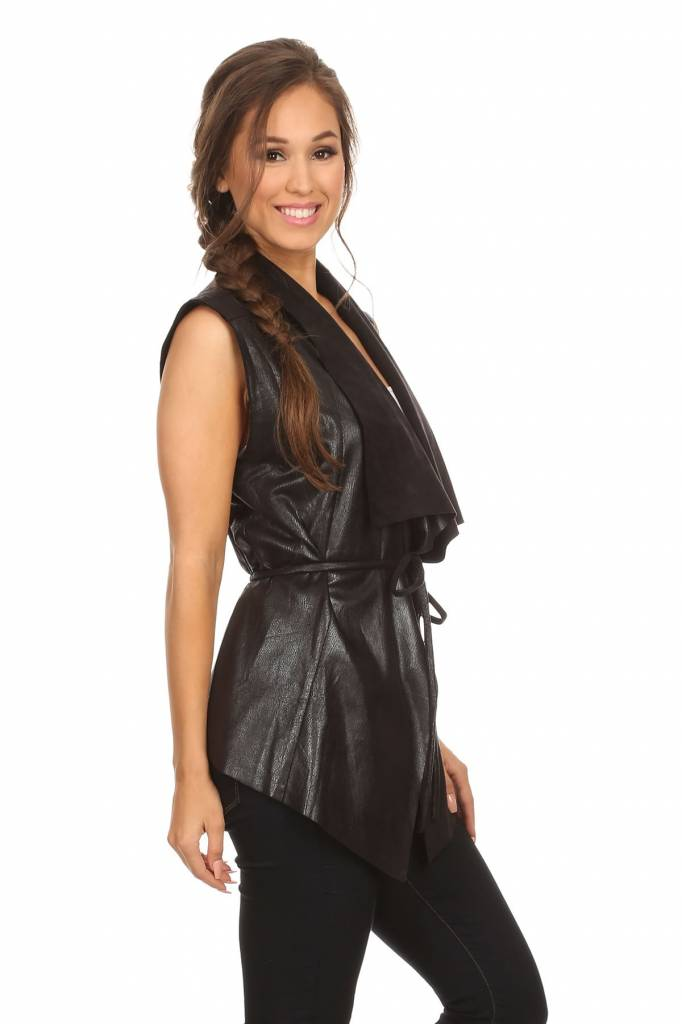 Black Faux Leather Relaxed Fit Vest