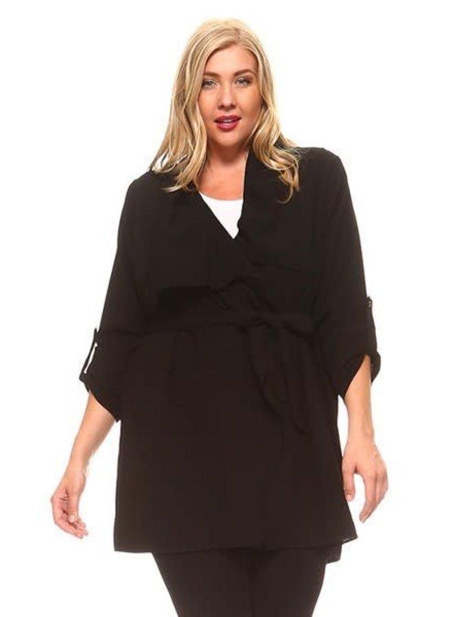 Black Open Long Sleeve Cardigan