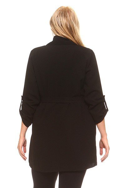 Black Open Long Sleeve Cardigan
