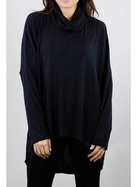 Black Long Sleeve Oversized Turtleneck Tunic