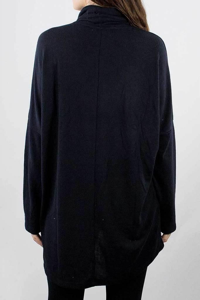 Black Long Sleeve Oversized Turtleneck Tunic