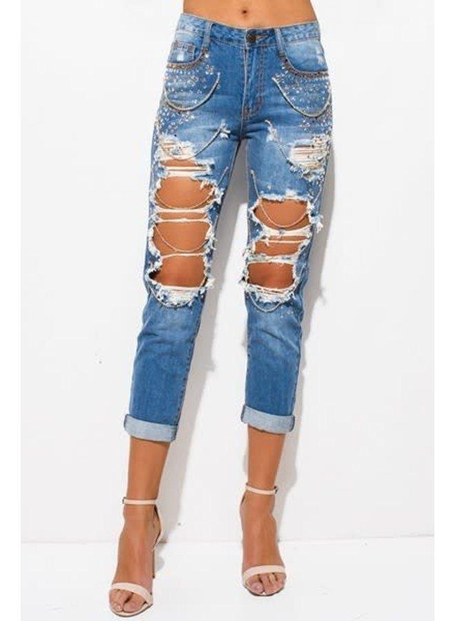 Light Denim Destroyed Embellished Boyfriend Jeans