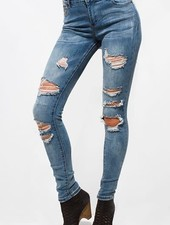 Medium Denim Mid Rise Destroyed Ripped Skinny Jean
