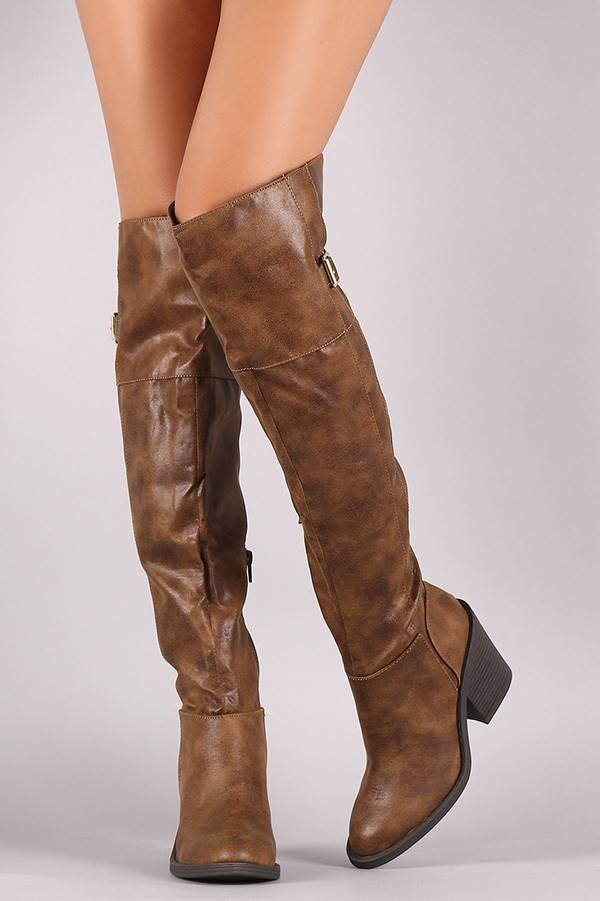 Camel Over the Knee Boot with Buckle Detail