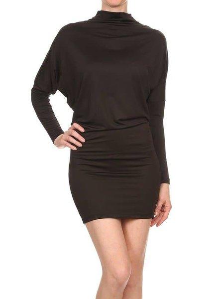Black Dolman Sleeve Mini Dress