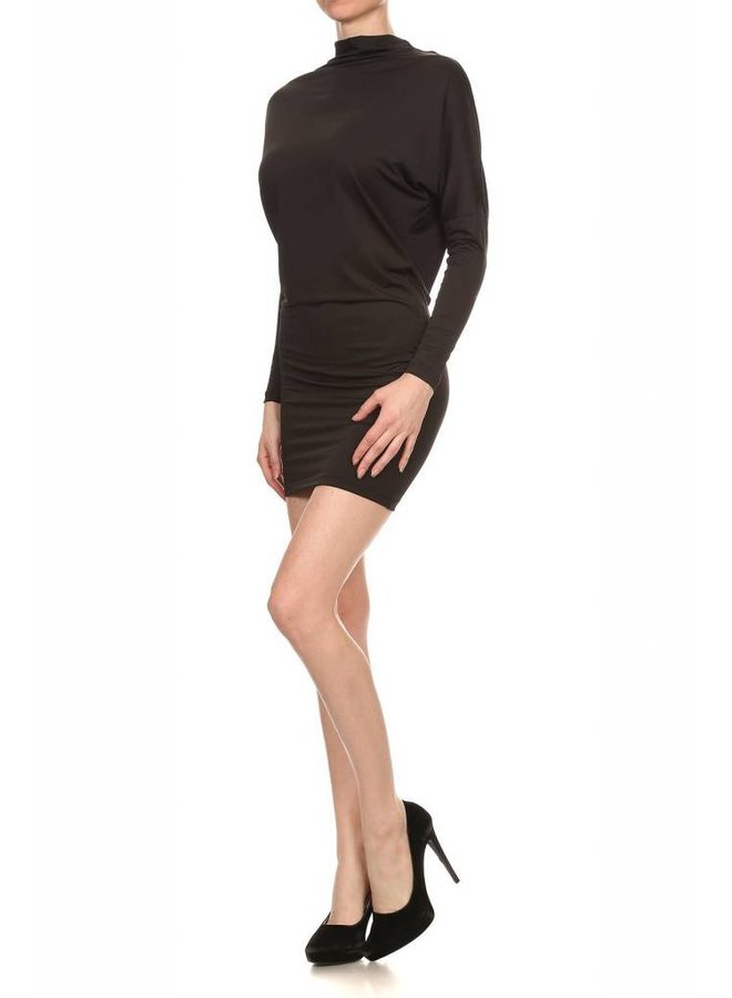 Black Dolman Sleeve Mini Dress