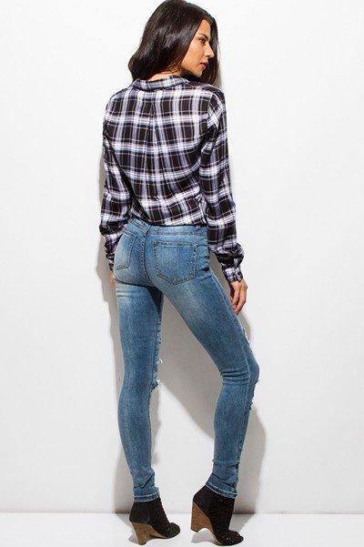Medium Denim Mid Rise Destroyed Ripped Skinny Jean